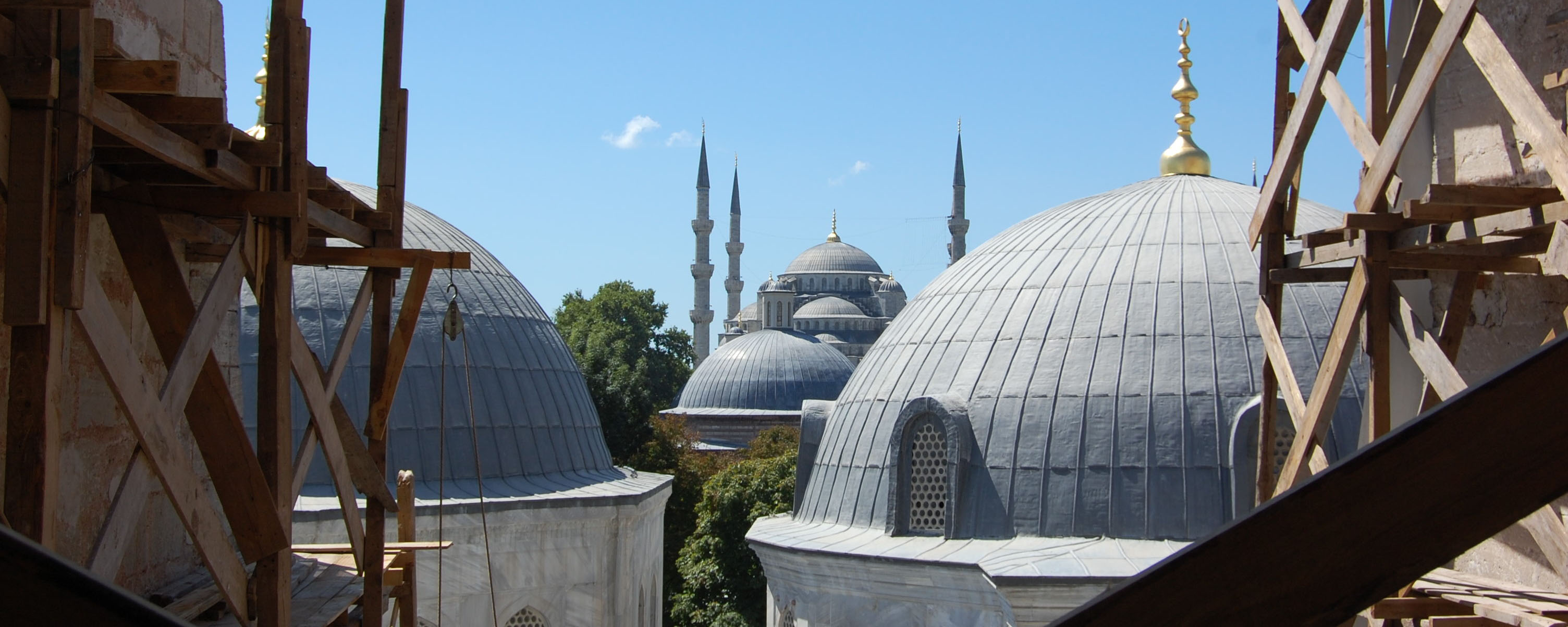 A view of the Hagia Sophia Mosque from the Sultan Ahmed Mosque in Istanbul. Turkey